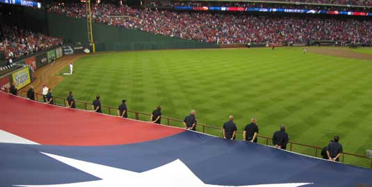 Lone Star produces extra large flags for major sporting events.